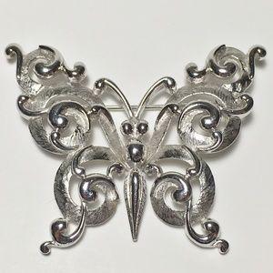 Vintage Crown Trifari Silver-Tone Butterfly Brooch